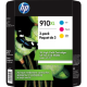 HP 910XL High Yield Color Ink Cartridges, 3YM86BN